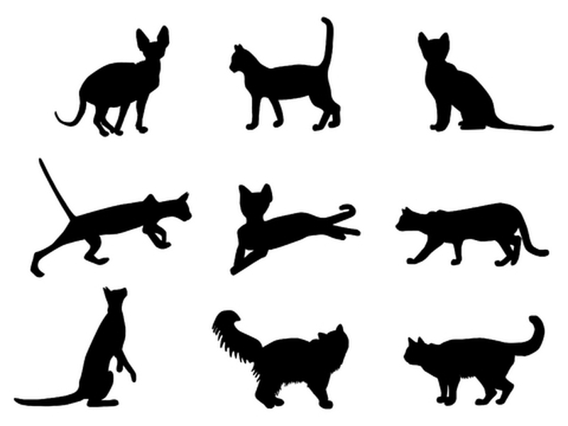 Set of egyptian cat tattoo designs