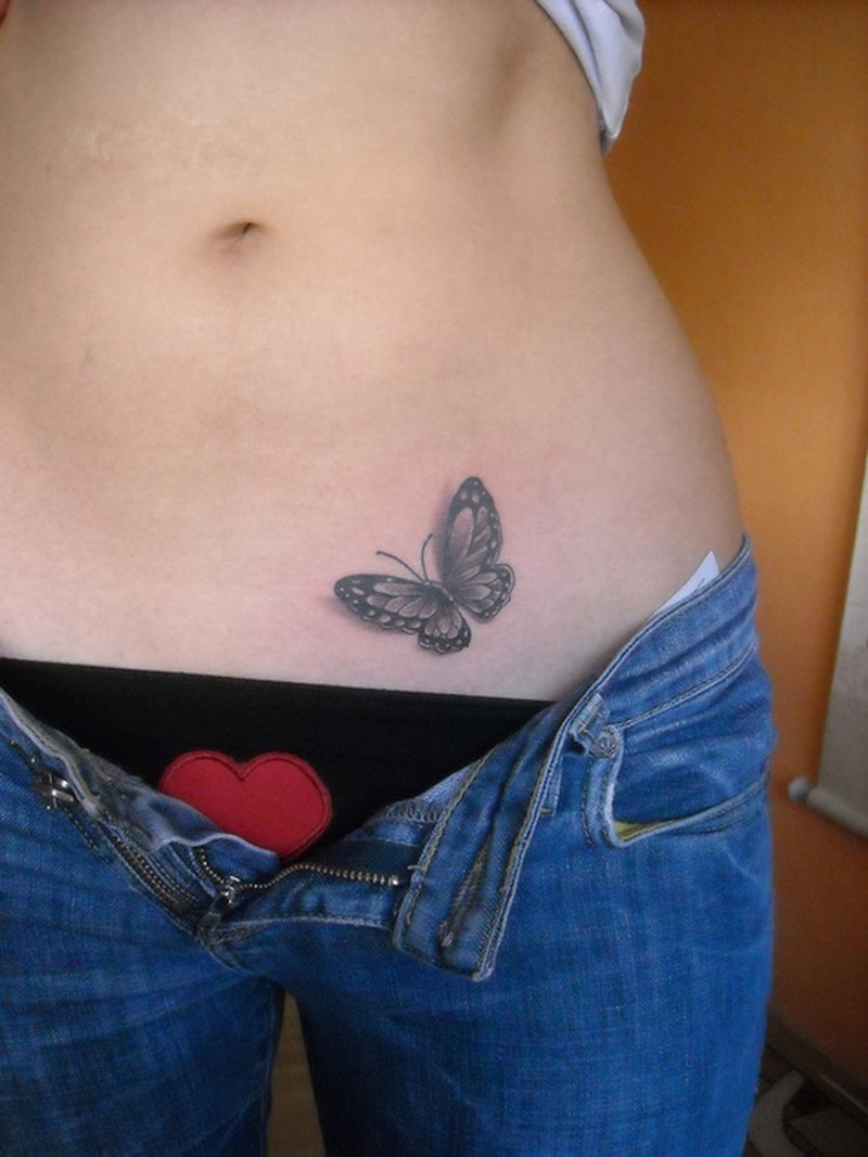 Sexy butterfly tattoo for girls on hip