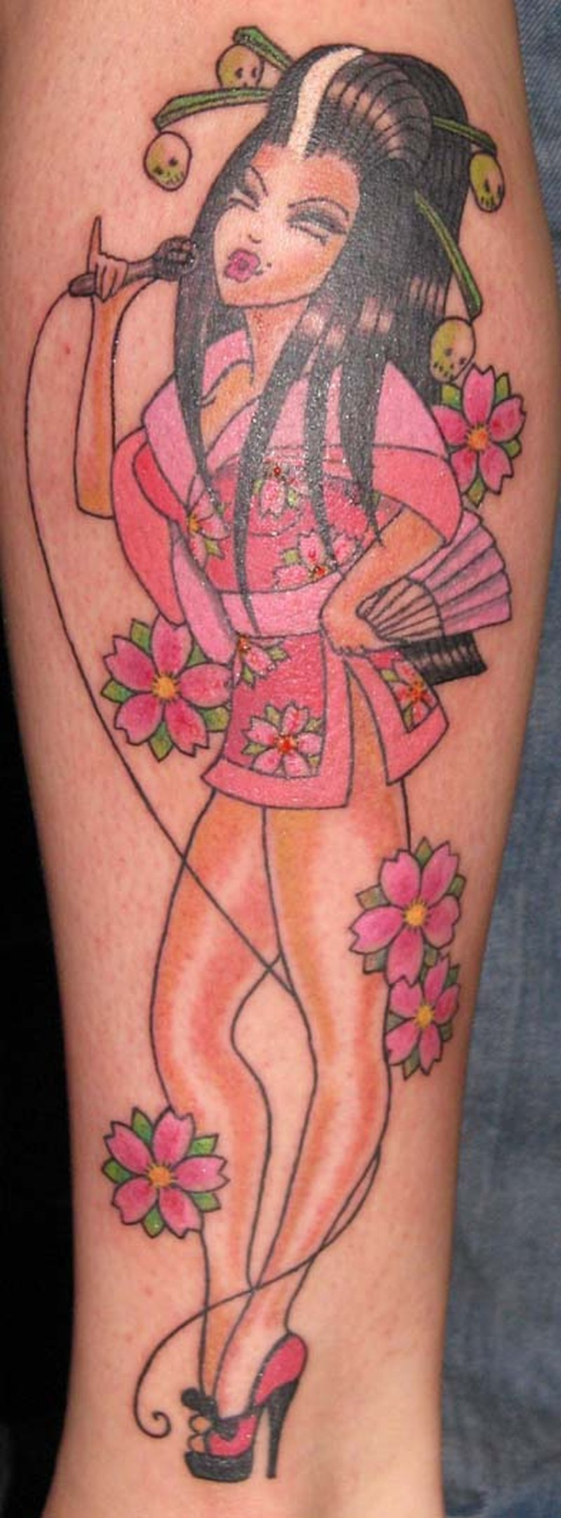 Sexy geisha with cherry blossom tattoo design