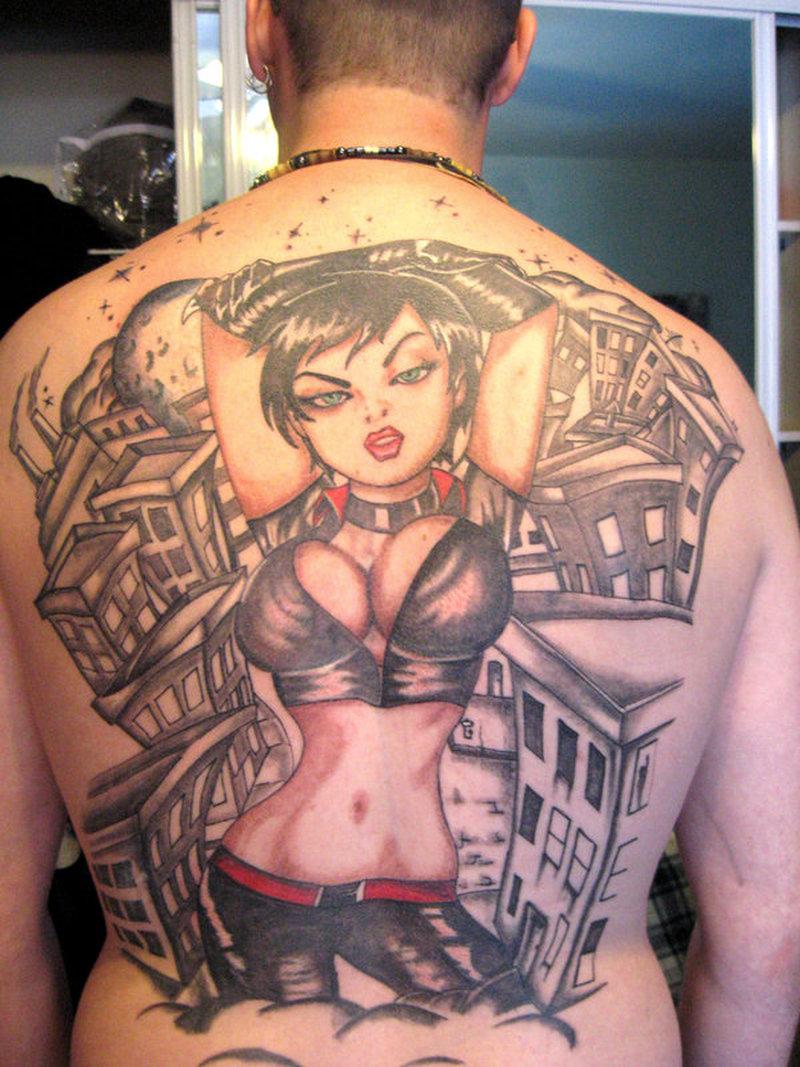 Sexy girl tattoo on full back