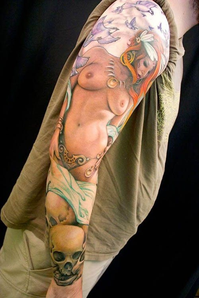6b32f0820 Sexy girl with skull tattoo on arm for men - Tattoos Book - 65.000 ...