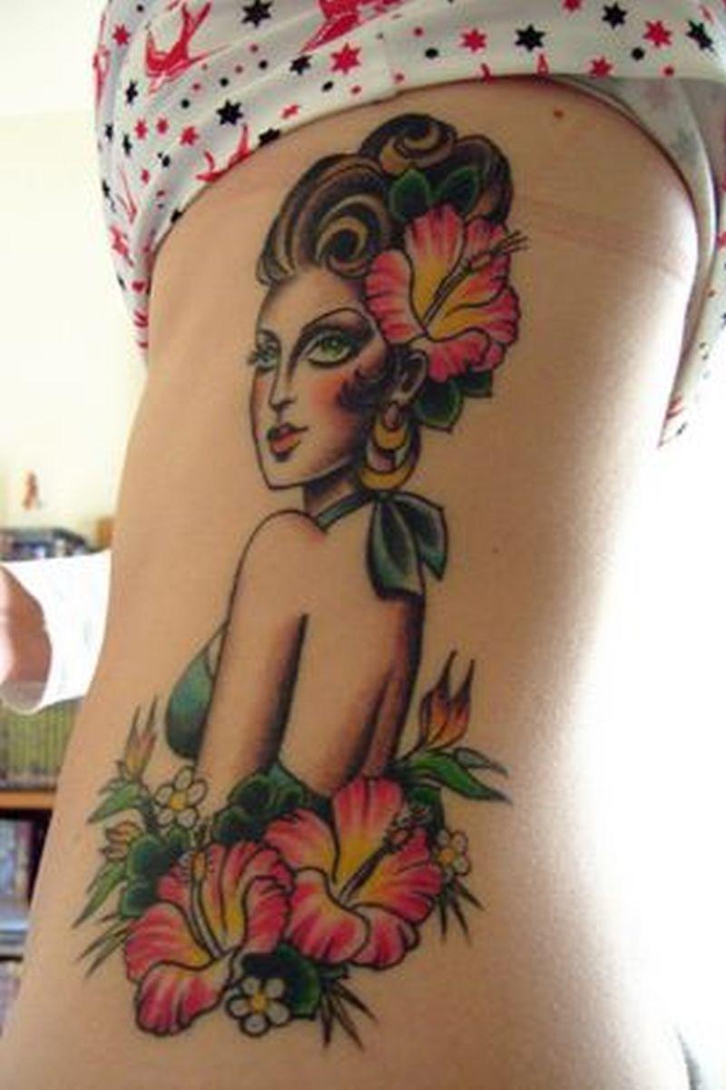 Sexy hibiscus girly tattoo design