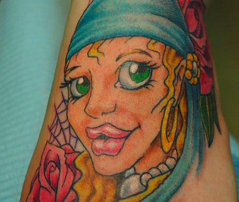 Sexy lips gypsy tattoo design on foot
