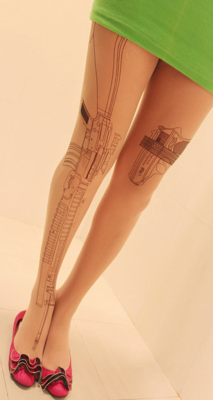 Sexy machine gun tights tattoo