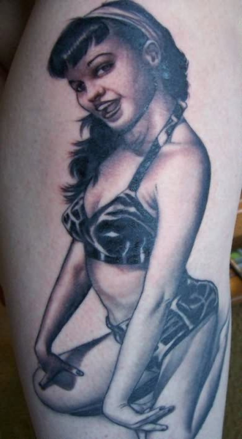Sexy pinup girl tattoo