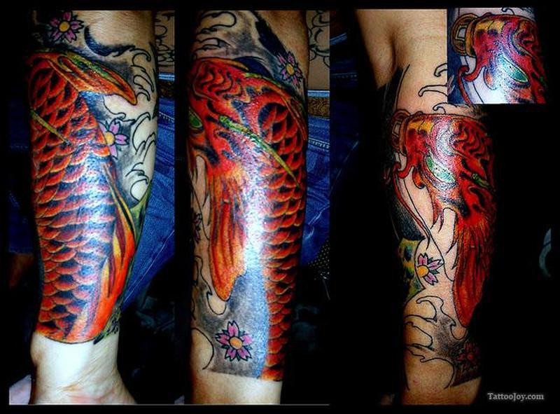 Shining asian koi fish tattoo design