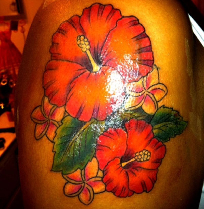 Shining hibiscus flower tattoo design