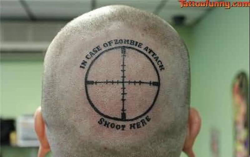 Shoot Here Funny Tattoo On Back Of Head Tattoos Book 65 000 Tattoos Designs