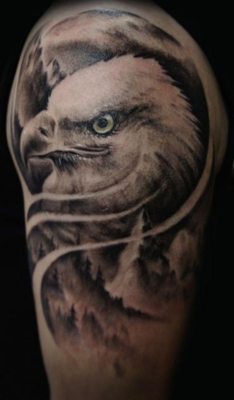 Shoulder eagle tattoo