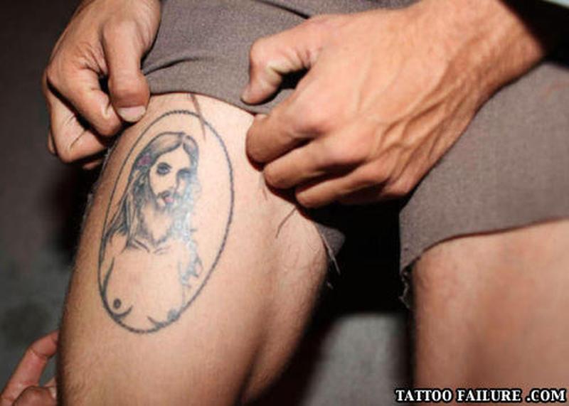 Showing female jesus tattoo design