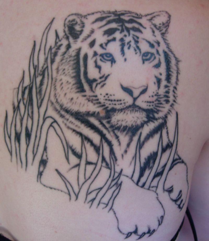 Simple asian tiger tattoo
