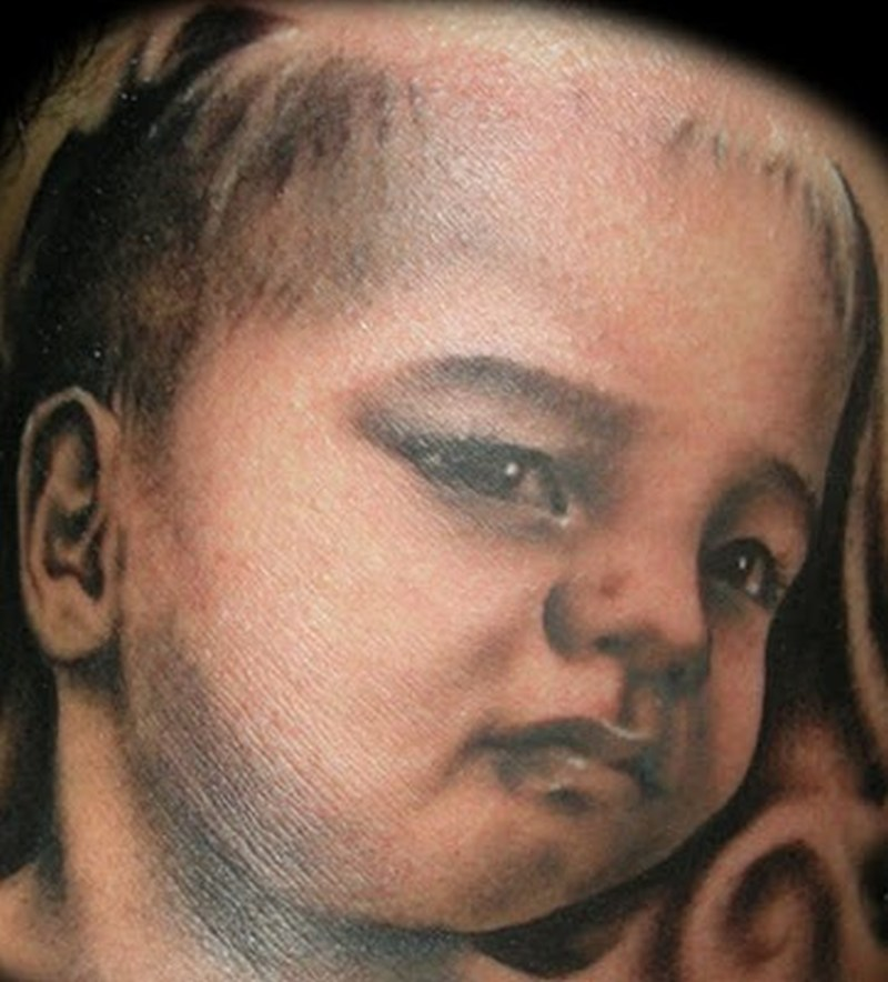 Simple baby face portrait tattoo design tattoos book for Baby s first tattoo book