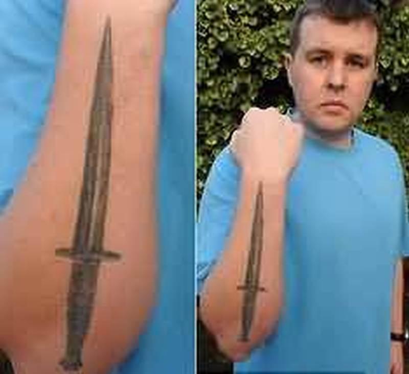 simple dagger tattoo on arm tattoos book. Black Bedroom Furniture Sets. Home Design Ideas