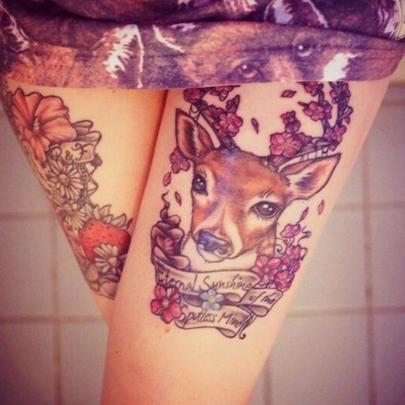 Simple deer tattoo on thigh