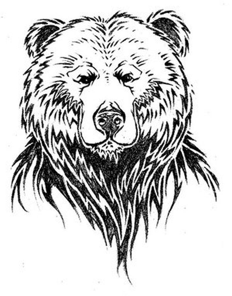 Simple design of bear face tattoo - Tattoos Book - 65.000 ... Bear Face Drawing