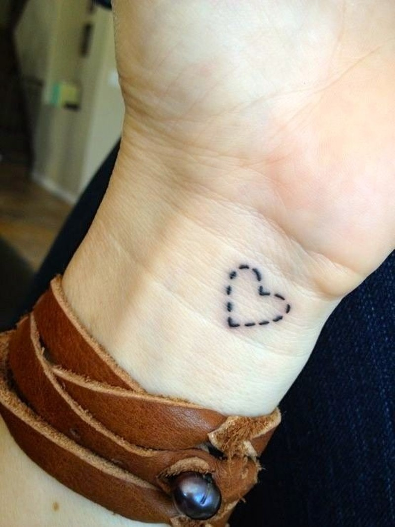 Simple Dotted Line Heart Tattoo On Wrist Tattoos Book 65 000