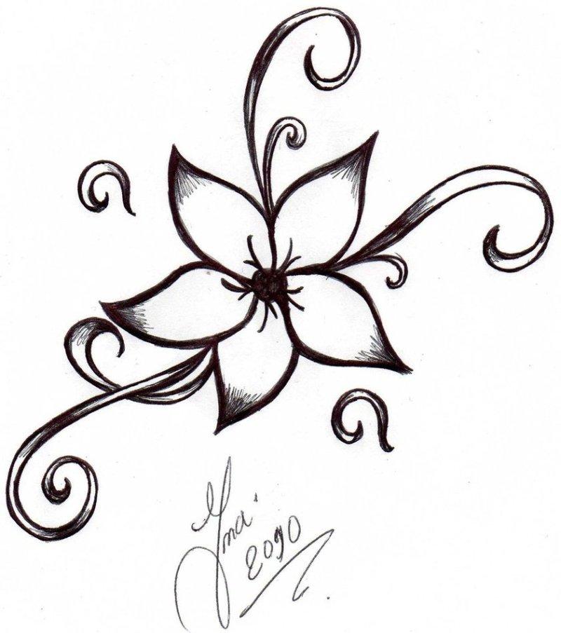 Simple flower tattoo design 2