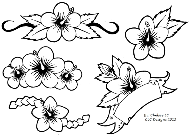 simple hibiscus flowers tattoo designs