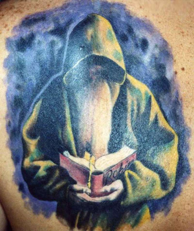 Simple wizard fantasy tattoo design