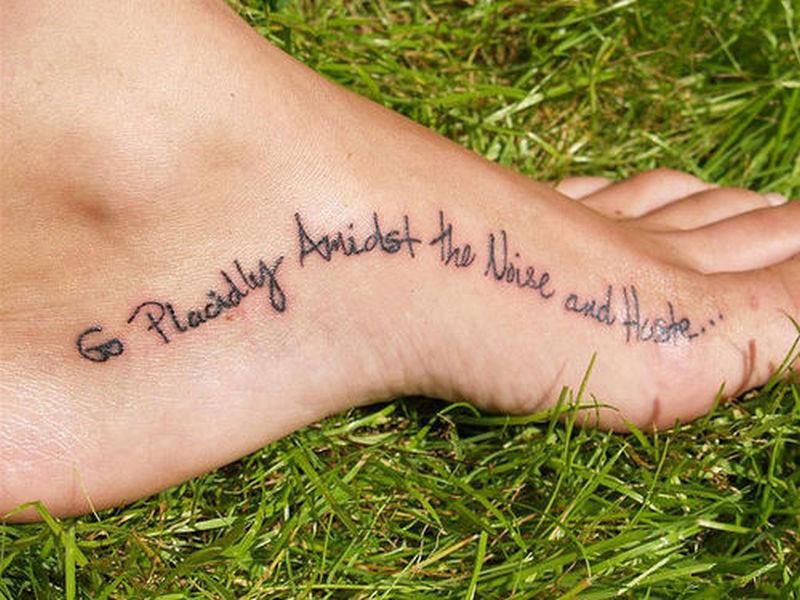 Simple wording foot tattoo design