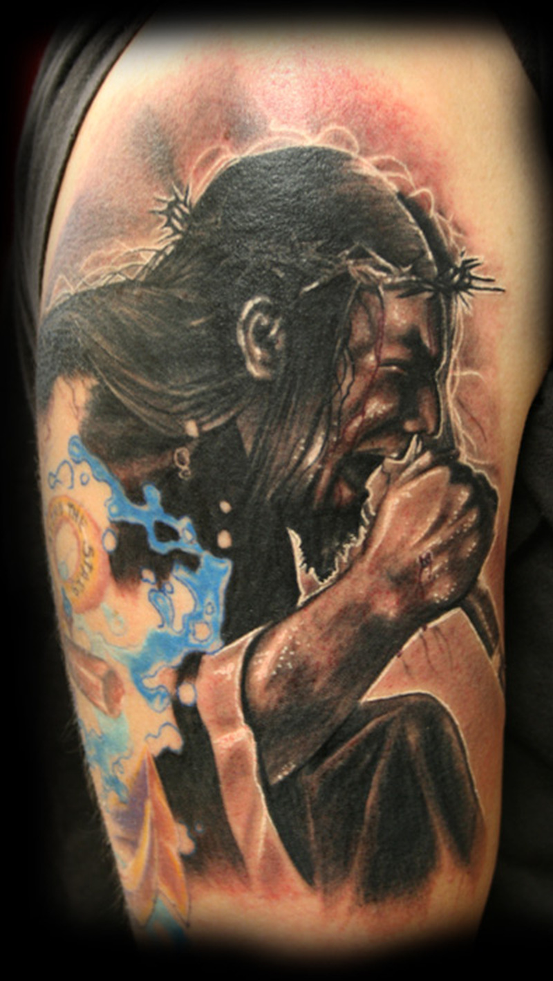 Singing jesus tattoo design