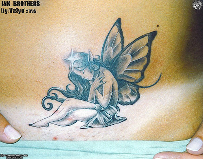Sitting fairy tattoo picture