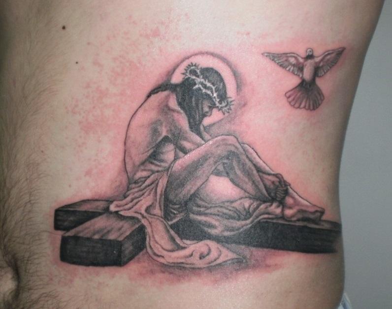 Sitting jesus n dove tattoo design