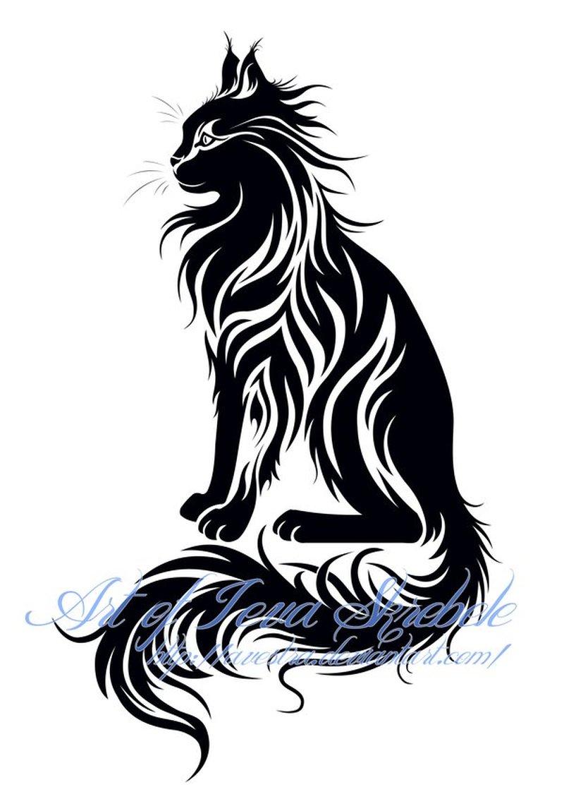 Sitting tribal cat tattoo design 2