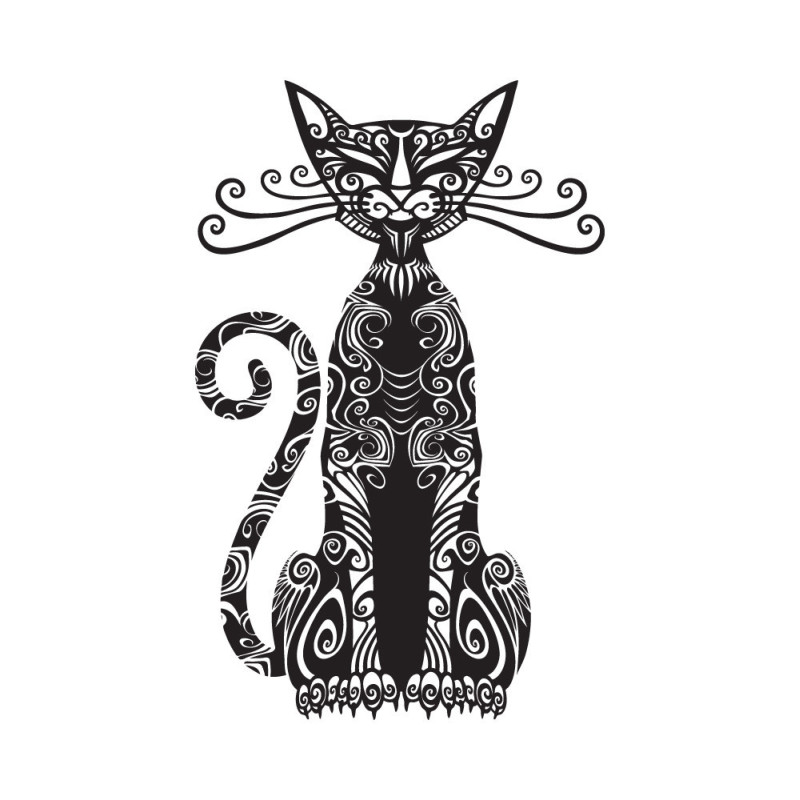 Sitting tribal cat tattoo design