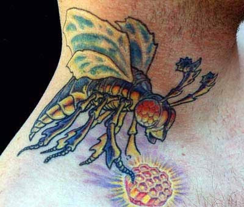 Skeleton bumblebee design tattoo
