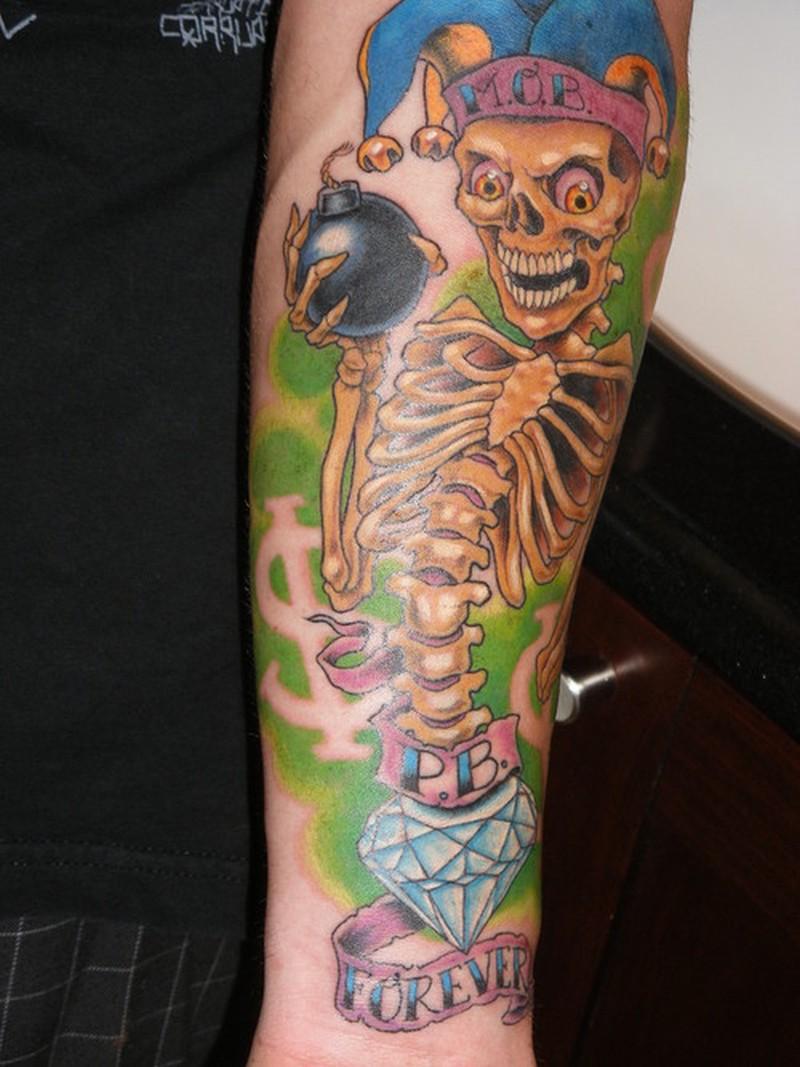 Skeleton joker tattoo on arm