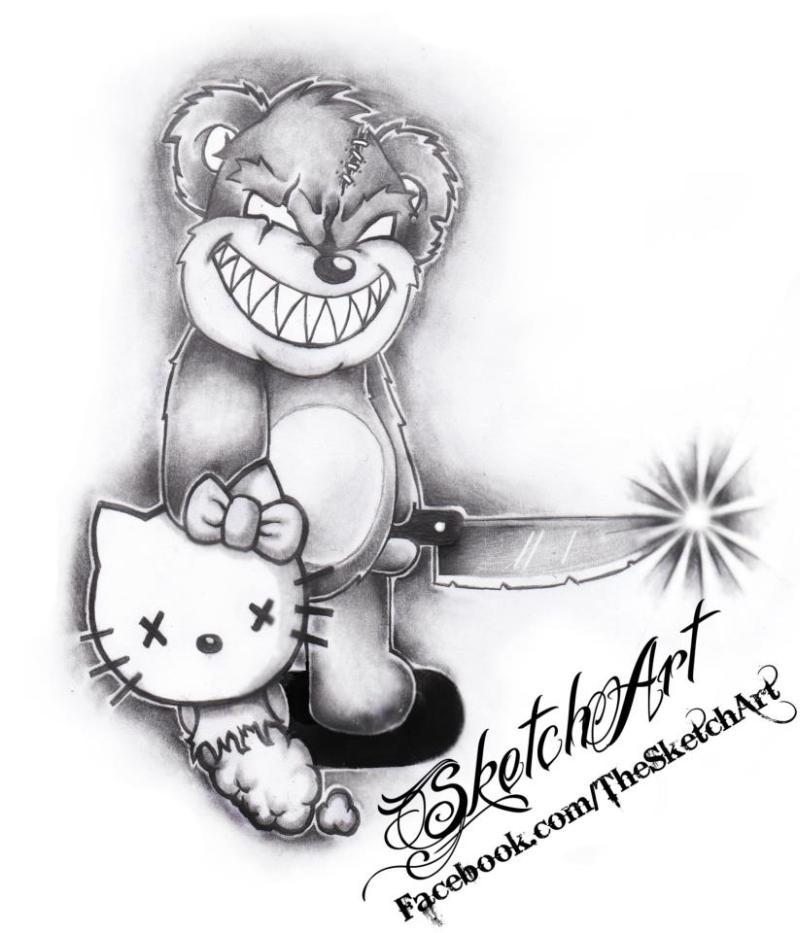 0d4204340 Sketch art of evil teddy bear tattoo - Tattoos Book - 65.000 Tattoos ...
