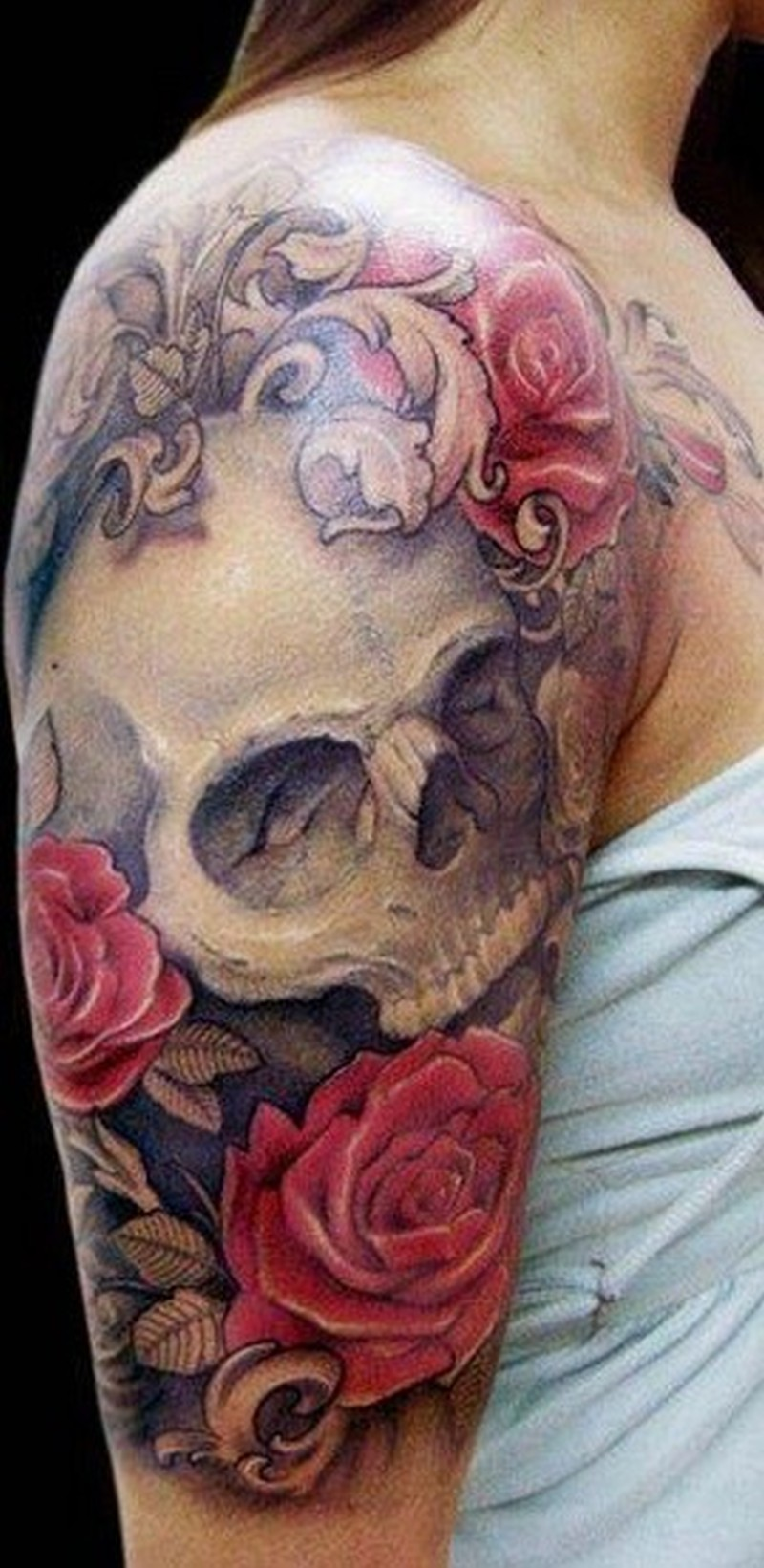 skull and roses tattoo on half sleeve tattoos book tattoos designs. Black Bedroom Furniture Sets. Home Design Ideas