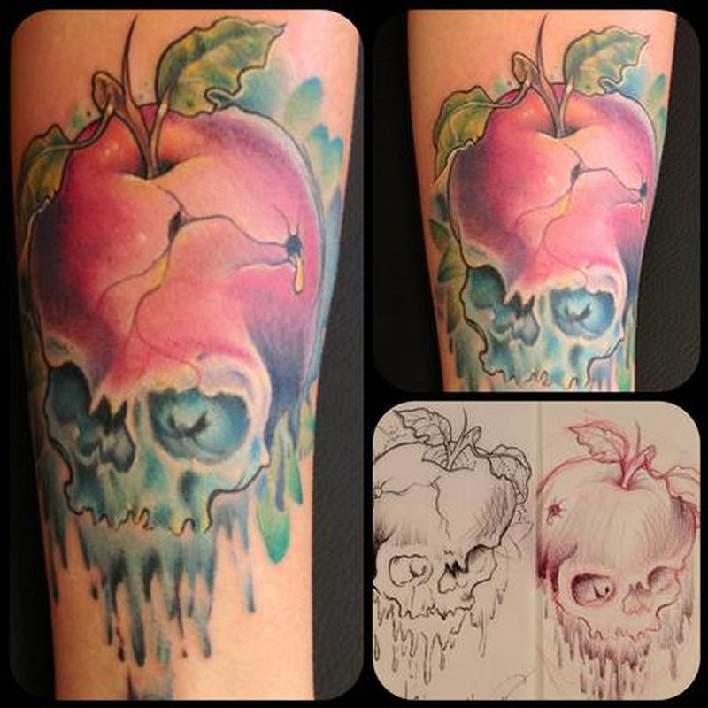 skull apple forbidden fruit tattoo design tattoos book tattoos designs. Black Bedroom Furniture Sets. Home Design Ideas