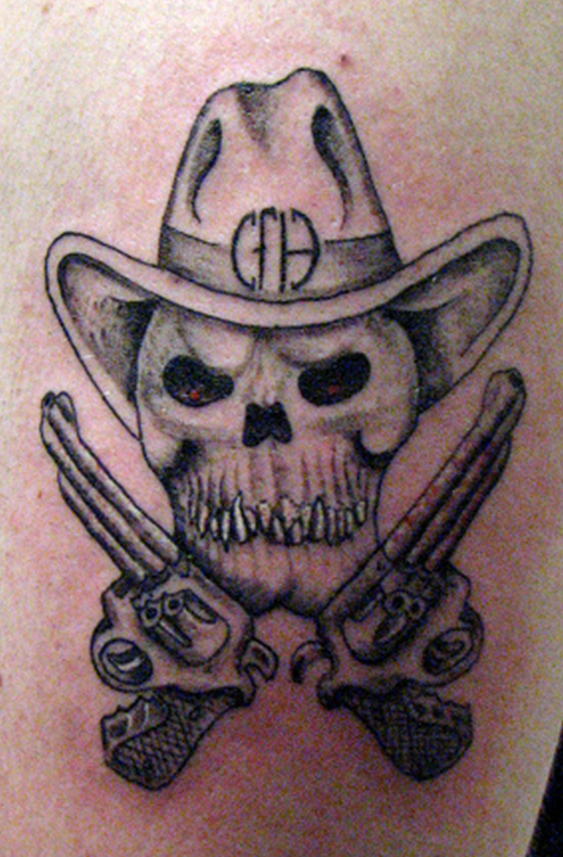 5ef468589d355 Skull cowboy tattoo - Tattoos Book - 65.000 Tattoos Designs