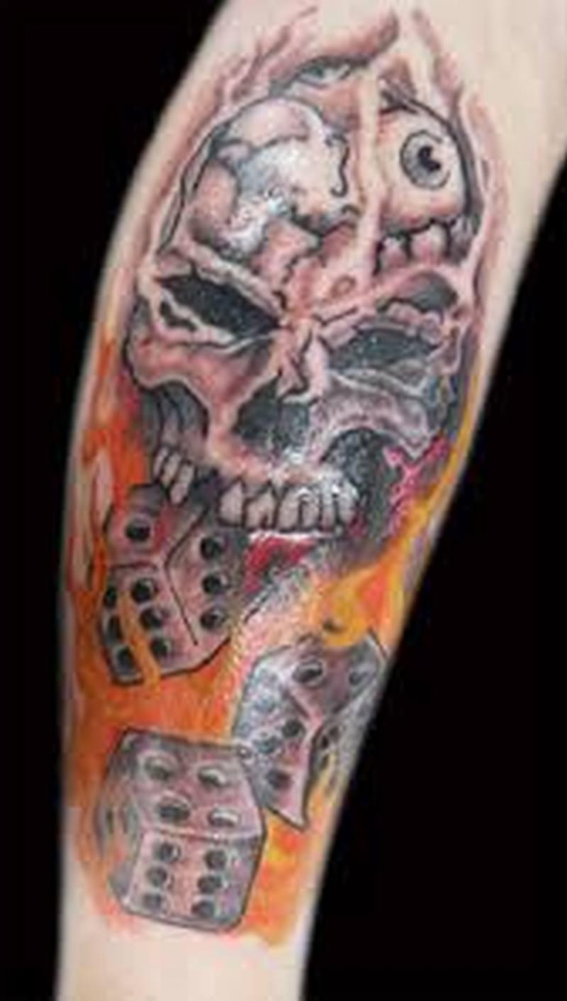 skull dice n fire design tattoo tattoos book tattoos designs. Black Bedroom Furniture Sets. Home Design Ideas