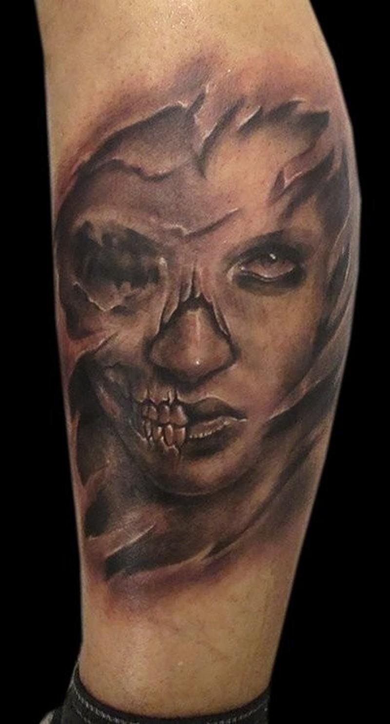 5d7c86a36 Skull face lady tattoo - Tattoos Book - 65.000 Tattoos Designs