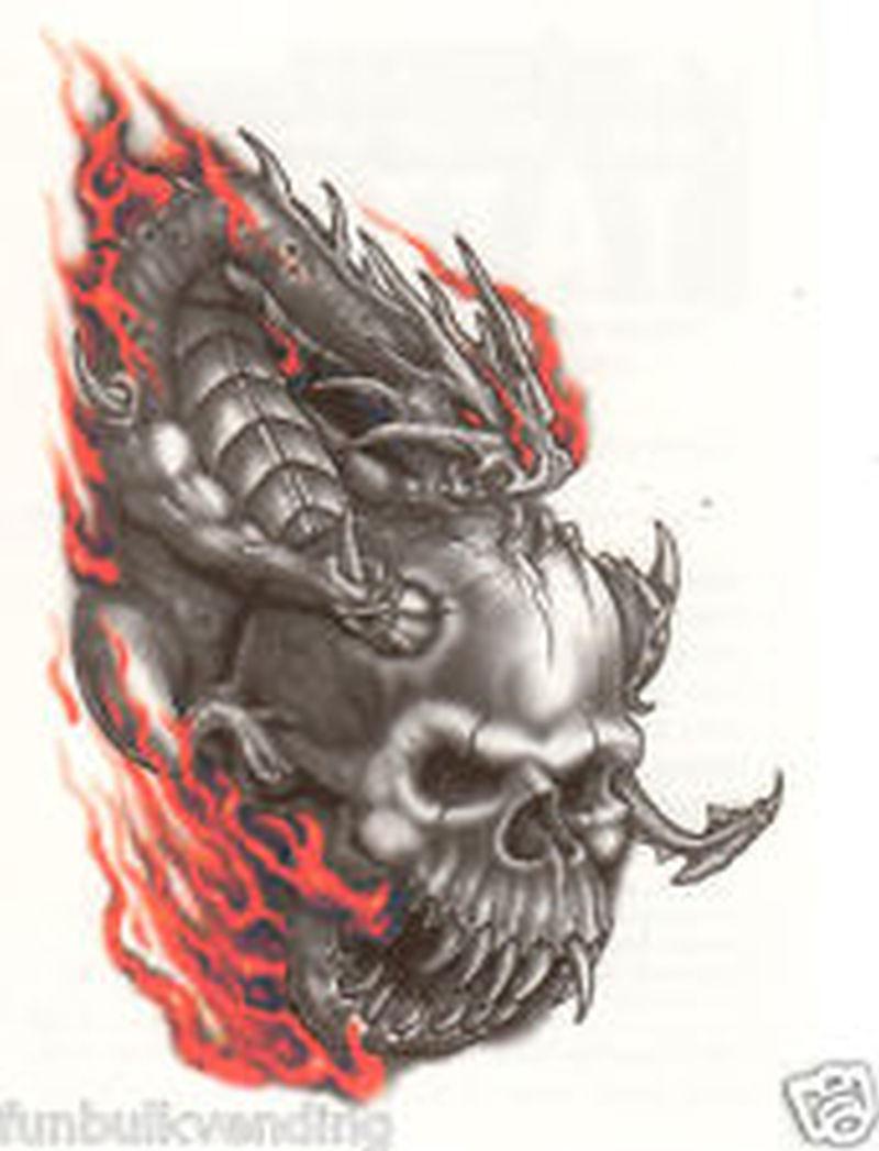 Skull flames tattoo sample