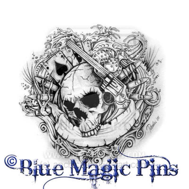 skull gun gambling cards n dice tattoo design tattoos book. Black Bedroom Furniture Sets. Home Design Ideas