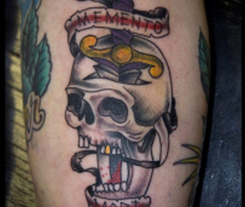 Skull n dagger on biceps 2 tattoo