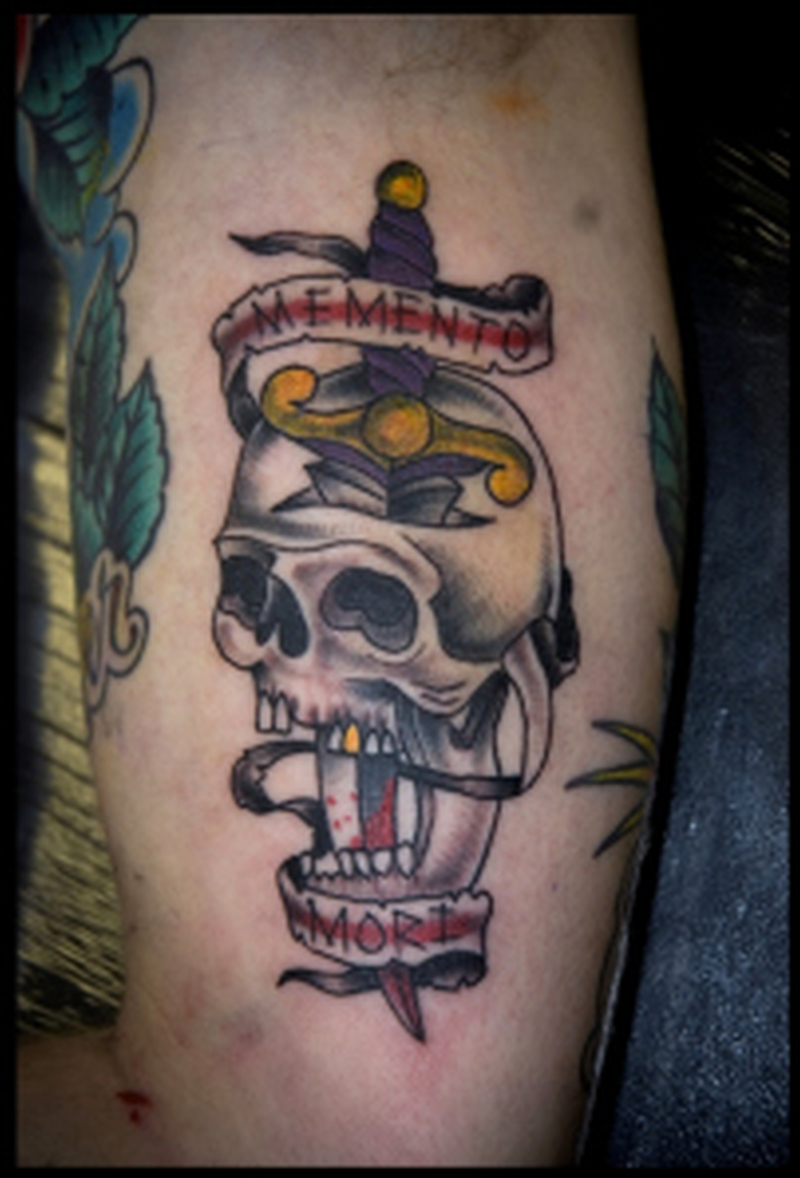 Skull n dagger on biceps 2 tattoo