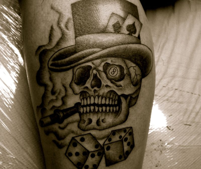 Skull n dices gambling tattoo design