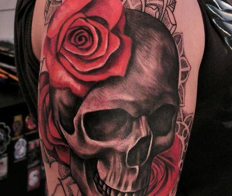 Skull with red roses and black pattern tattoo by ILOna