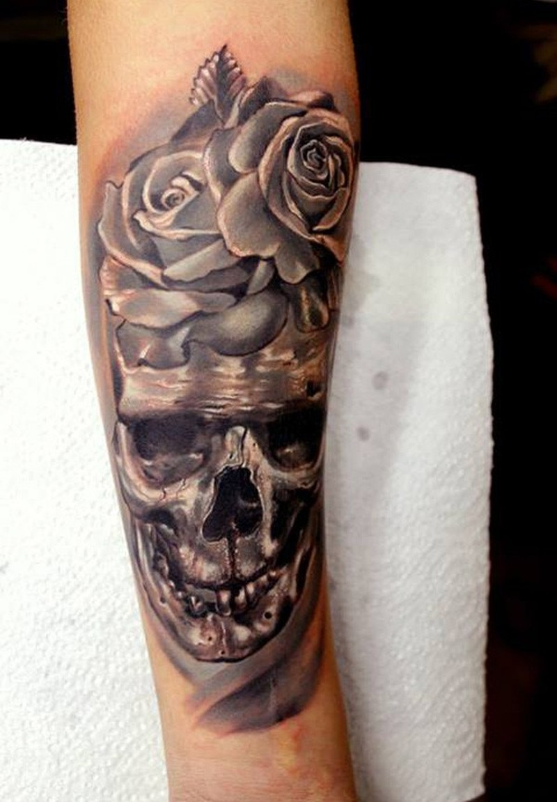 skull with roses forearm tattoo tattoos book. Black Bedroom Furniture Sets. Home Design Ideas