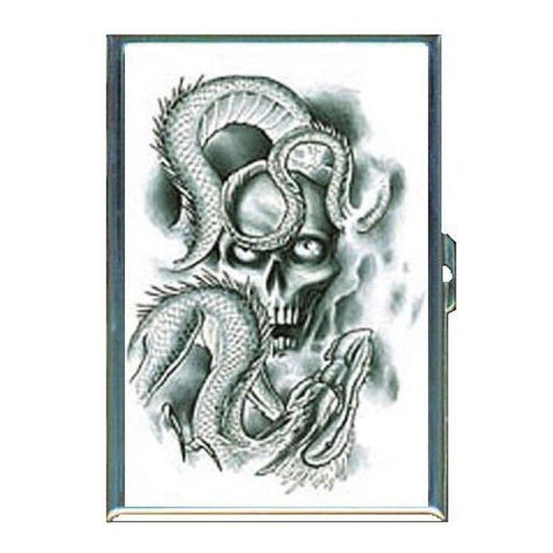 Skulls n flames horror tattoo design