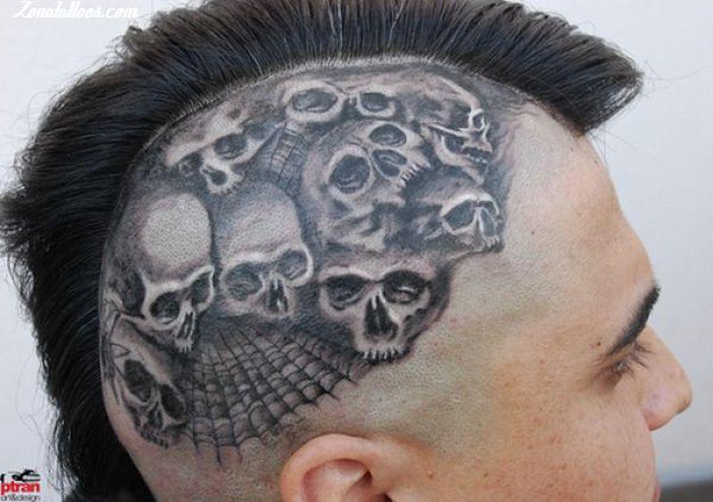 Skulls n spider web head tattoo design