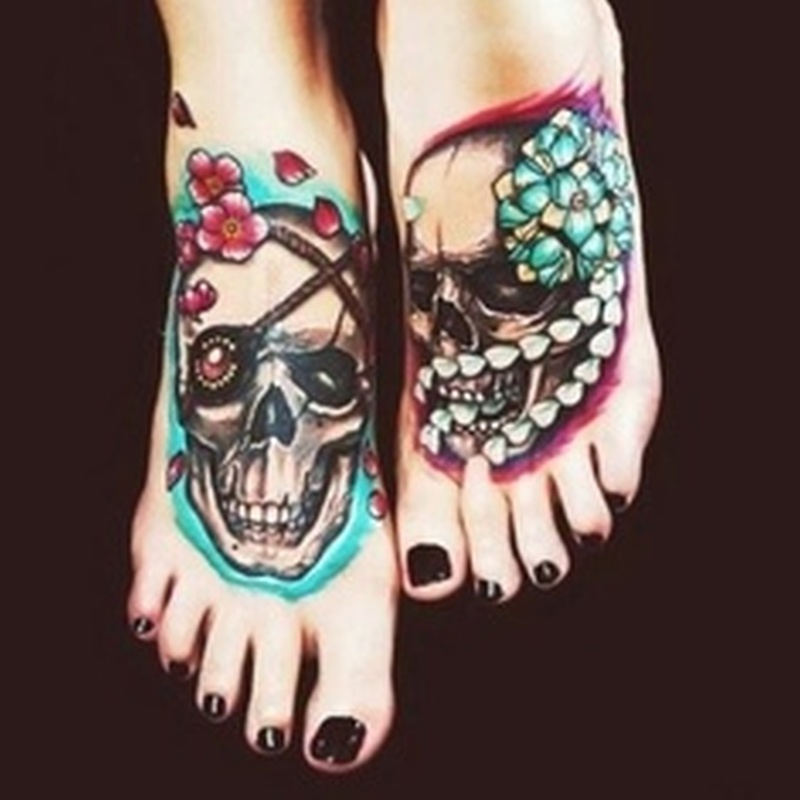 Skulls tattoo on feet