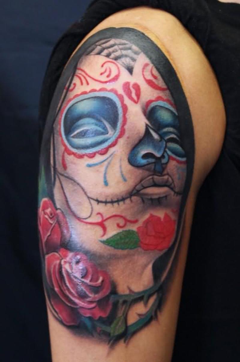 Sleeping girl tattoo on shoulder