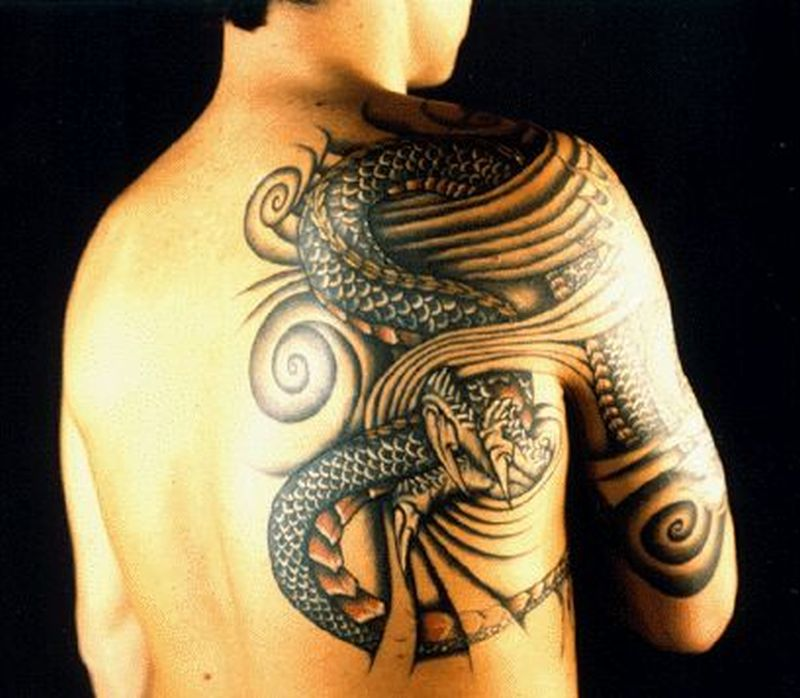 Sleeve and shoulder tattoo