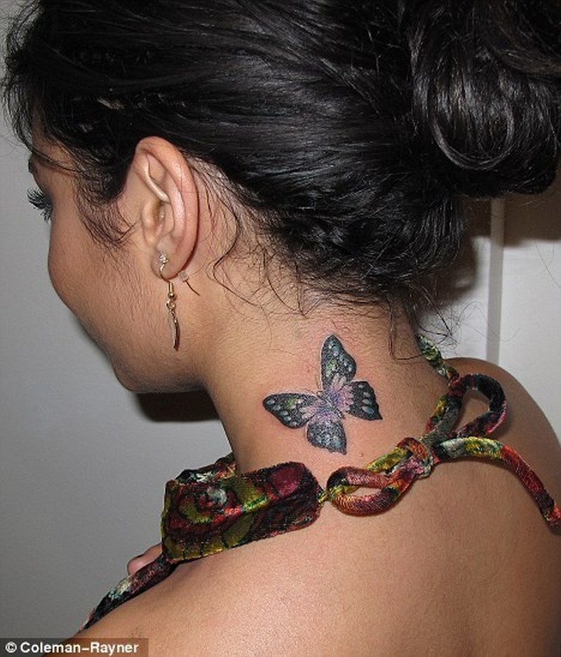 3dc8802272876 Small butterfly tattoo on neck for girls - Tattoos Book - 65.000 ...